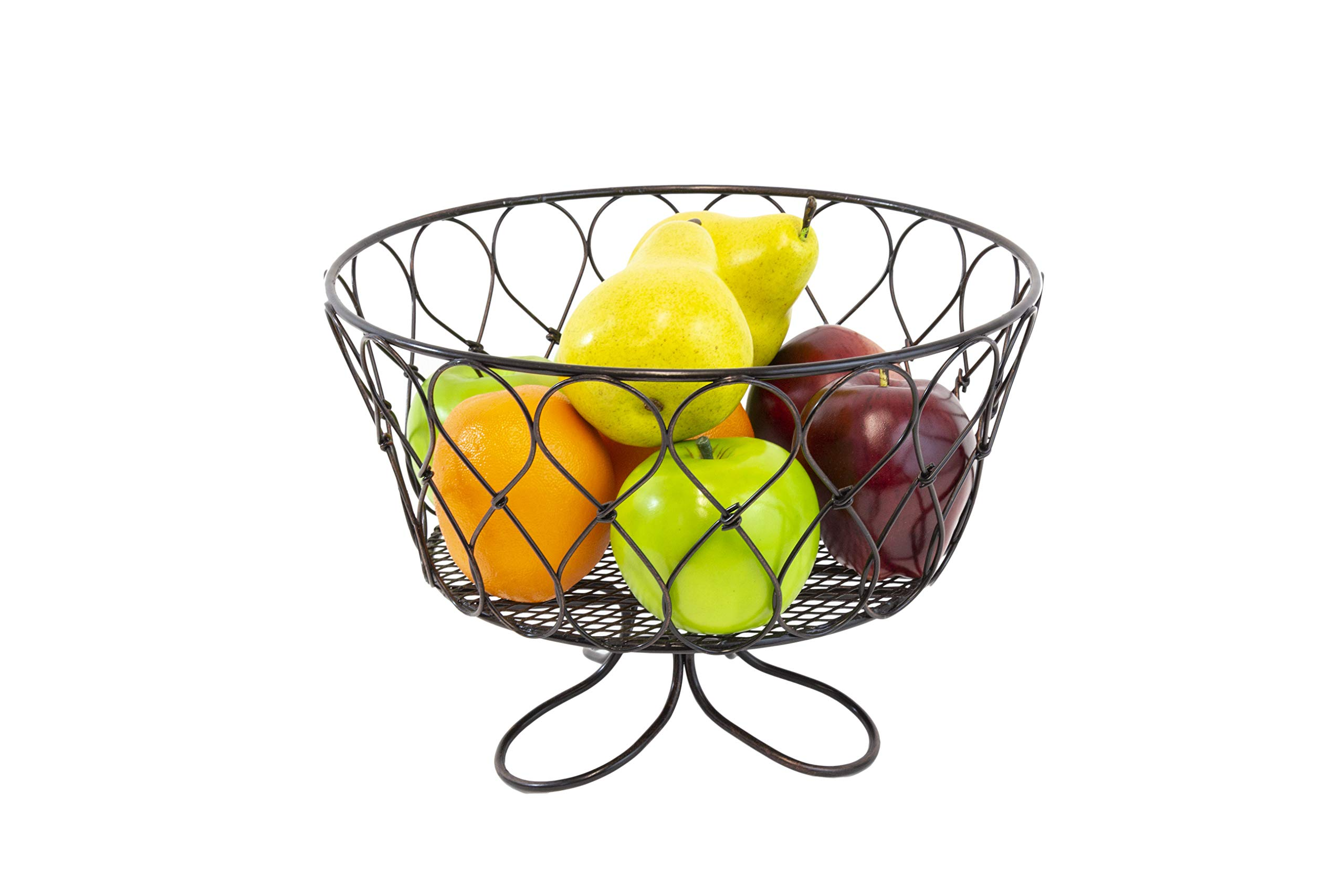 FRUIT BOWL , KITCHEN BASKET / STAND : Loop Twist Collection in Gunmetal; Inspired Living By Mesa ; Centerpiece Bowl