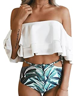 94a37cc6f0c Tempt Me Women Two Piece Swimsuit Off Shoulder Ruffled Flounce Crop Top  Bikini with Cutout Bottom