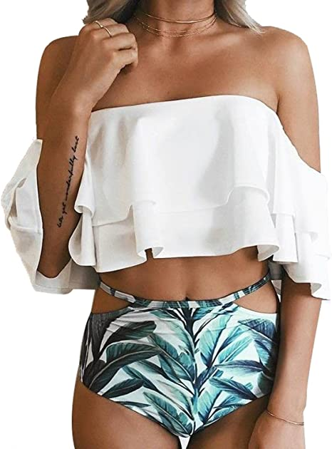 Amazon Two Piece Swimsuit with High Waisted Bottoms
