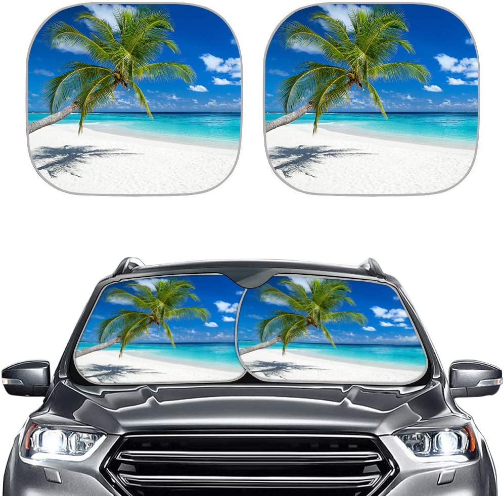 TOADDMOS Tropical Beach Palm Tree Print Sun Shield for Car Front Windows Foldable Sun Visor Protector Blocks 99% UV Rays and Keeps Your Vehicle Cool for Most Sedans SUV Truck