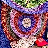ZAIAZ Queen Indian Mandala Hippie Etnic Wall Hanging Bohemian Beach Throw Boho 84 X 96 Inches Approx Multicolor