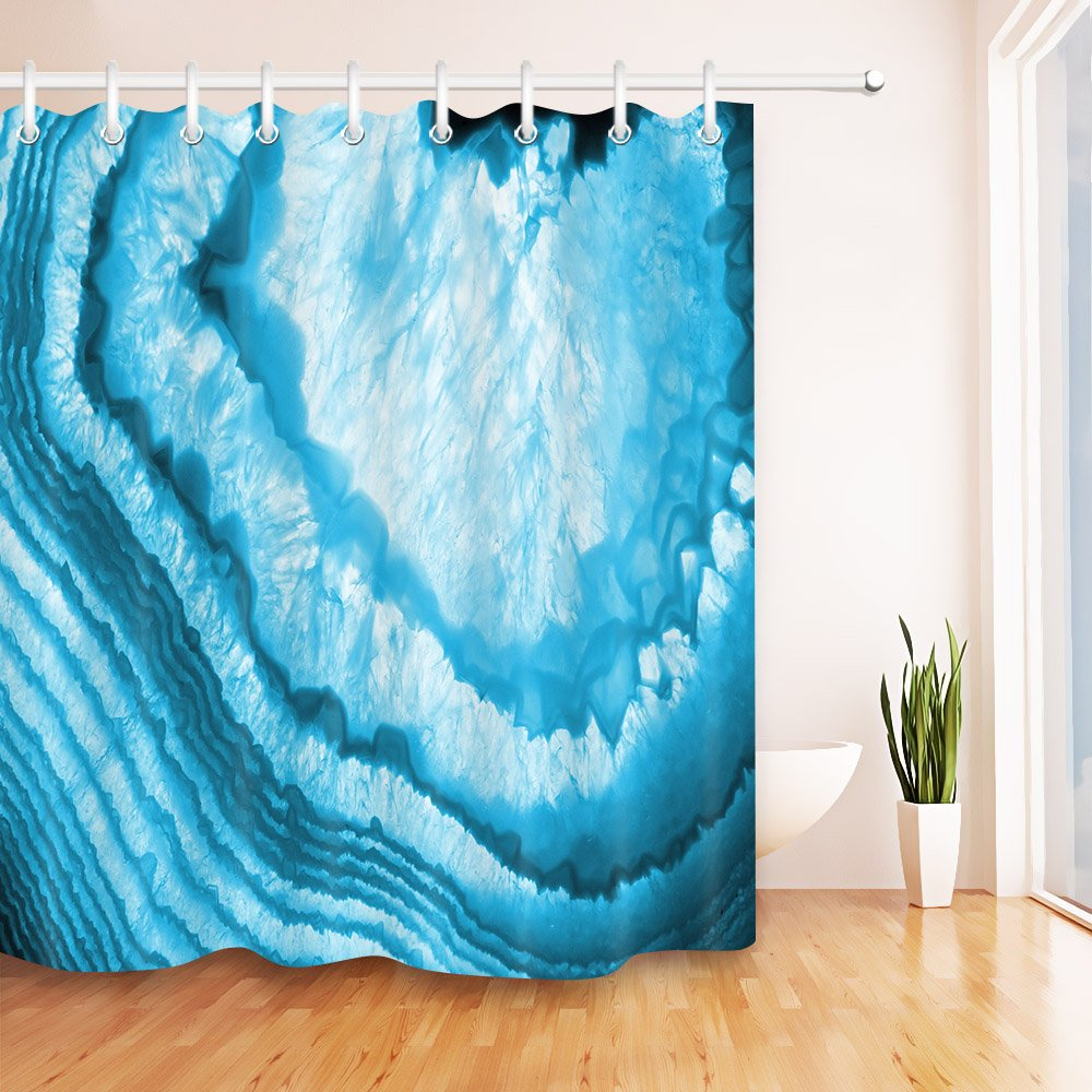LB Abstract Blue Agate Shower Curtain Set Crystal Gem Geology Quartz Bathroom 72x72 Inch Polyester Fabric Bath Hooks Included Mildew