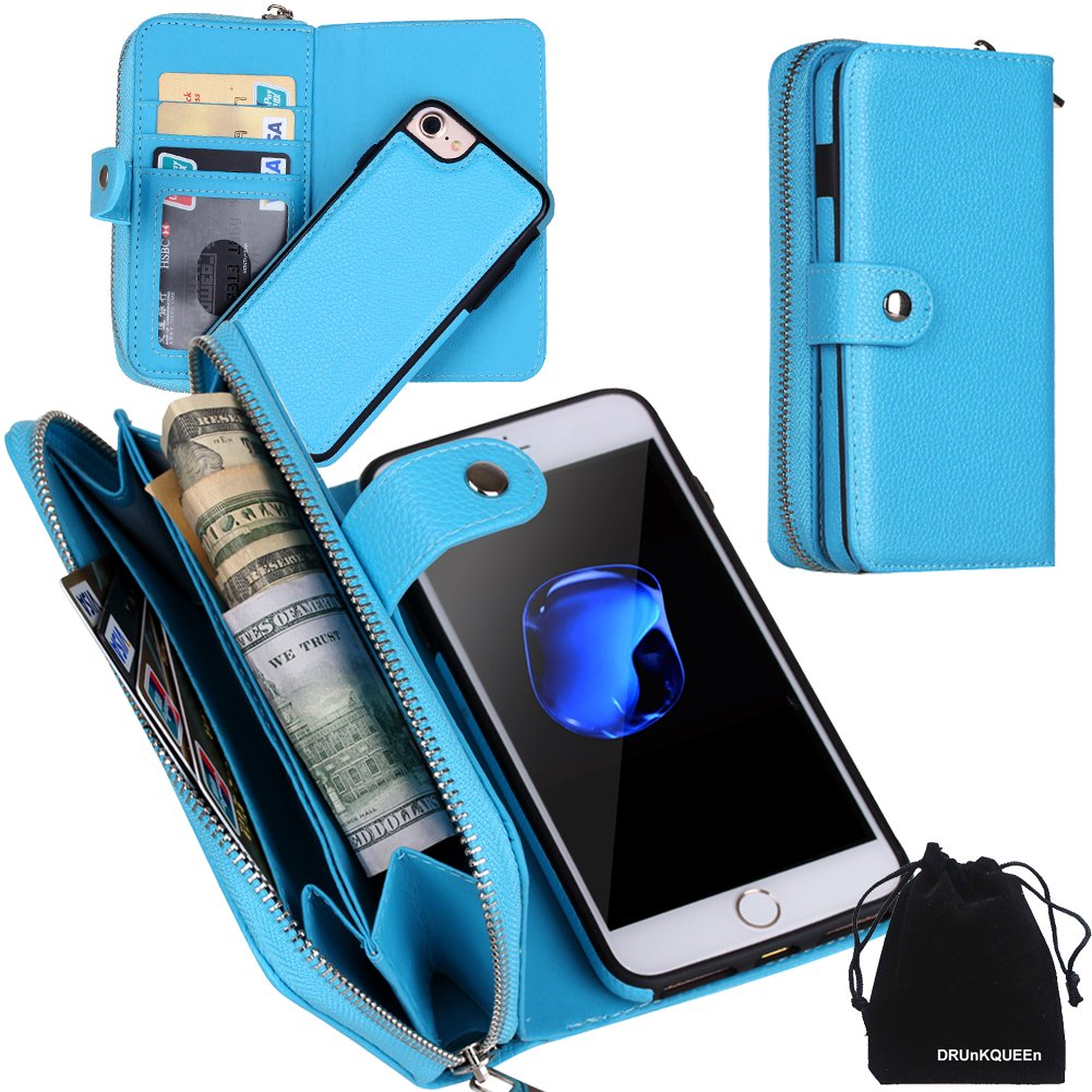 DRUnKQUEEn iPhone 8 Case, iPhone 7 Case, Zipper Wallet Type Flip Folio Premium Leather Credit Card Holder Case with Wrist Strap – Detachable Magnetic Back Cover for iPhone7 iPhone8 4.7 – Blue