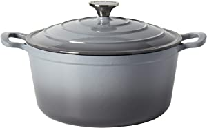 Epicurious Cookware Collection- Enameled Cast Iron Covered Dutch Oven, 6 Quart Dutch Oven Grey