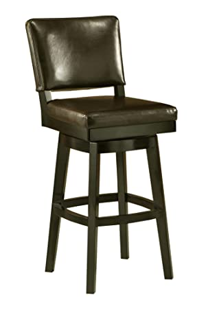 Impacterra QLRC219327867 Richfield Swivel Stool, 26 Counter Height, Feher Black Leather Brown