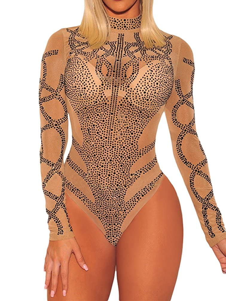 4b2a719822f6 BarbedRose Women's Sexy Rhinestone Sheer Mesh Long Sleeves Bodysuit S-3XL  at Amazon Women's Clothing store:
