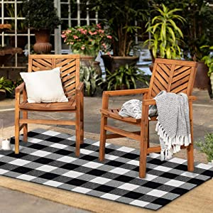 """Black and White Buffalo Plaid Rug - 35""""х59""""+ Upgraded Anti-Slip Mat, Outdoor/Indoor Front Porch Check Doormat, Welcome Small Carpet Cotton Checkered Door Mat, Kitchen Farmhouse Entryway Washable Decor"""