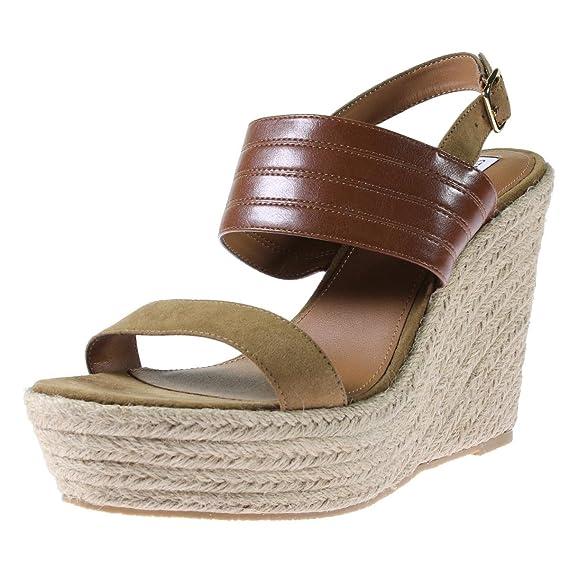 4e1e65c5870 Steve Madden Womens Prima Espadrille Open Toe Wedge Sandals Tan 10 Medium  (B