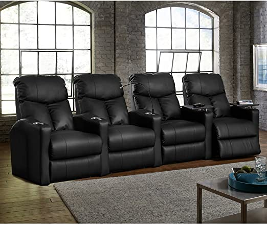 Octane Seating Octane Bolt XS400 Motorized Leather Home Theater Recliner Set (Row of 4)