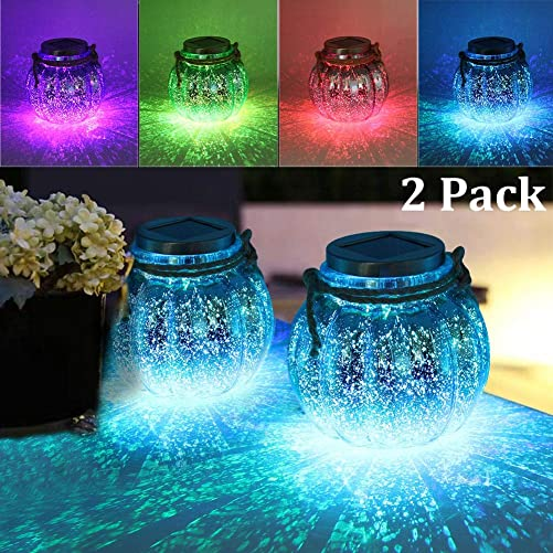 MAGGIFT 2 Pack Solar Lanterns Outdoor Christmas Table Decorations Super Bright LED Lamp Outside Hanging Lights for Tree, Table, Yard, Garden, Patio, Holiday Party Decoration, White Color Changing