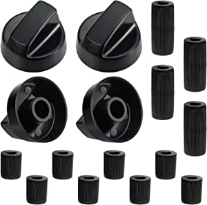 Blutoget 4-Pack Black Universal Control Knobs with 12 Adapters - Compatible for Oven Stove Range