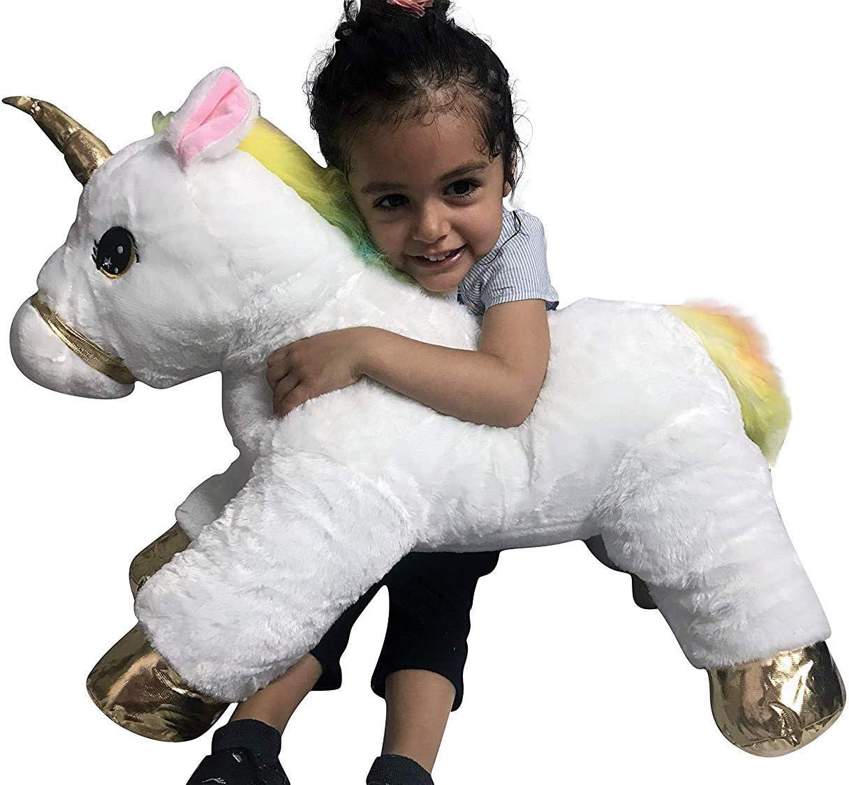 Gold GRIFIL ZERO XXL Size Unicorn Stuffed Animal Pillow Plush Toy Kid Babies Nursery Room Decoration Huge Big Large Doll