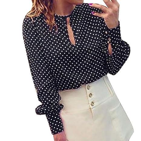 Malloom®Mujer polca puntos natural manga larga Blusas verano Camisa Tops (S)