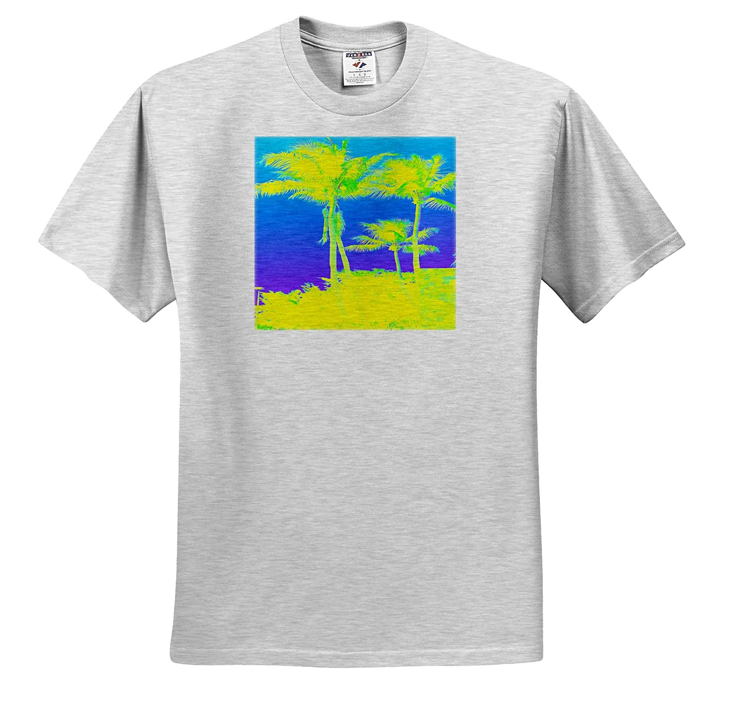 T-Shirts Image of Two Neon Yellow Palms On Bright Blue Sky Floral and Tree Abstracts 3dRose Lens Art by Florene