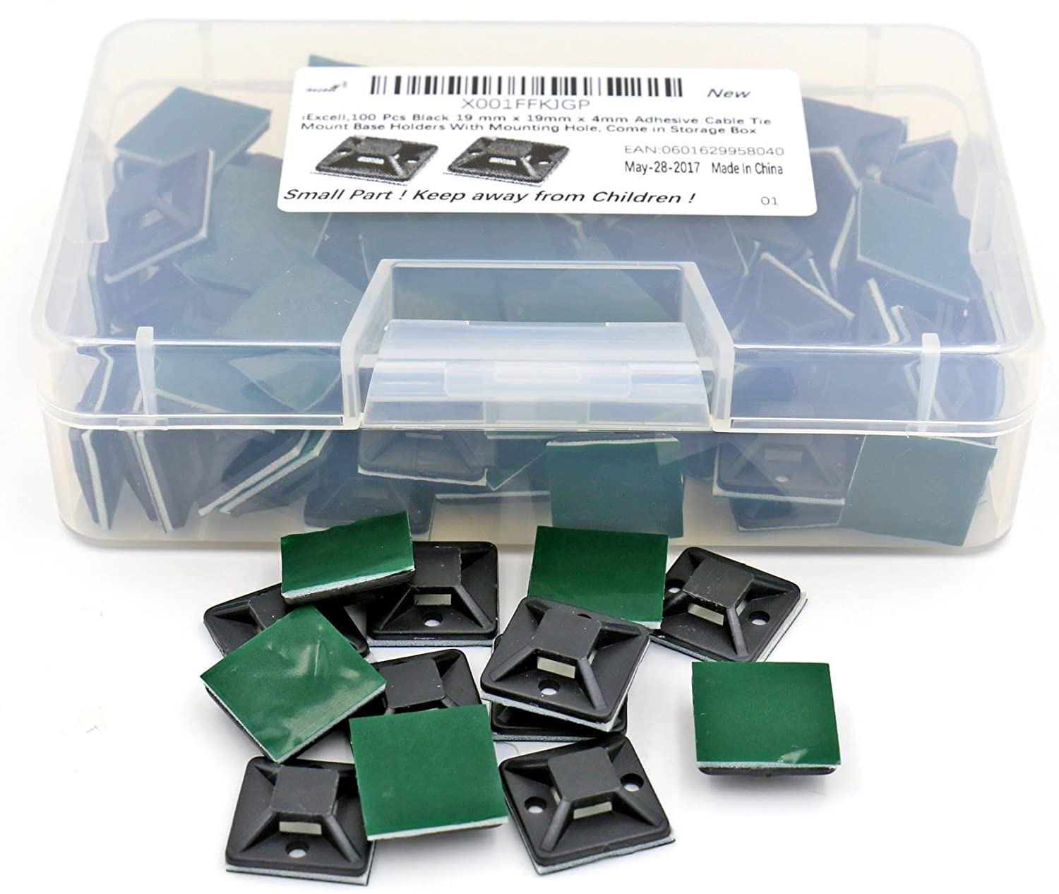 iExcell 100 Pcs Black 19 mm x 19mm x 4mm Adhesive Cable Tie Mount Base Holders With Mounting Hole Come in a Storage Box