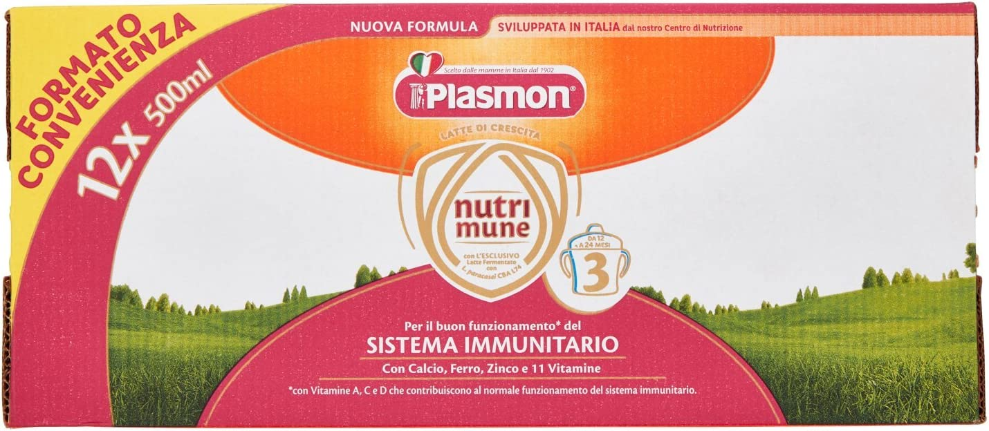 Plasmon Latte Liquido Nutri Mune 3, Confezioni da 12 (12 x 500...