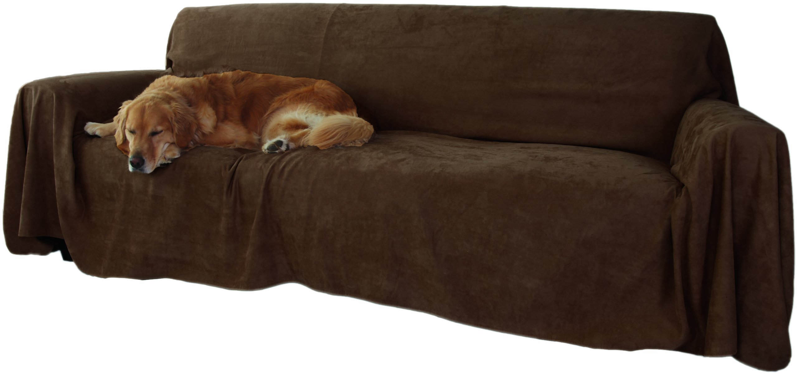 Floppy Ears Design Simple Faux Suede Couch Cover Protector, Chocolate, 70'' x 170'' L