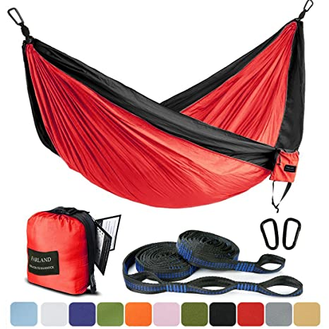 outdoor camping hammock   portable anti fade nylon single hammock with 2 piece 14 loop amazon    outdoor camping hammock   portable anti fade nylon      rh   amazon