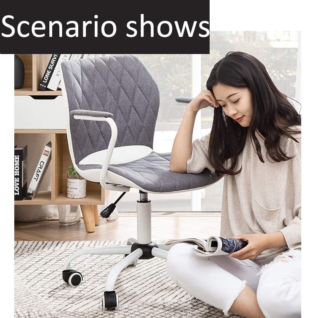 ZZHZY BBGS kontorsstol med armstöd, justerbar, svängbar stol, tyg datorstol, PU stol rygg, 3 färger (färg: grå) Mässing