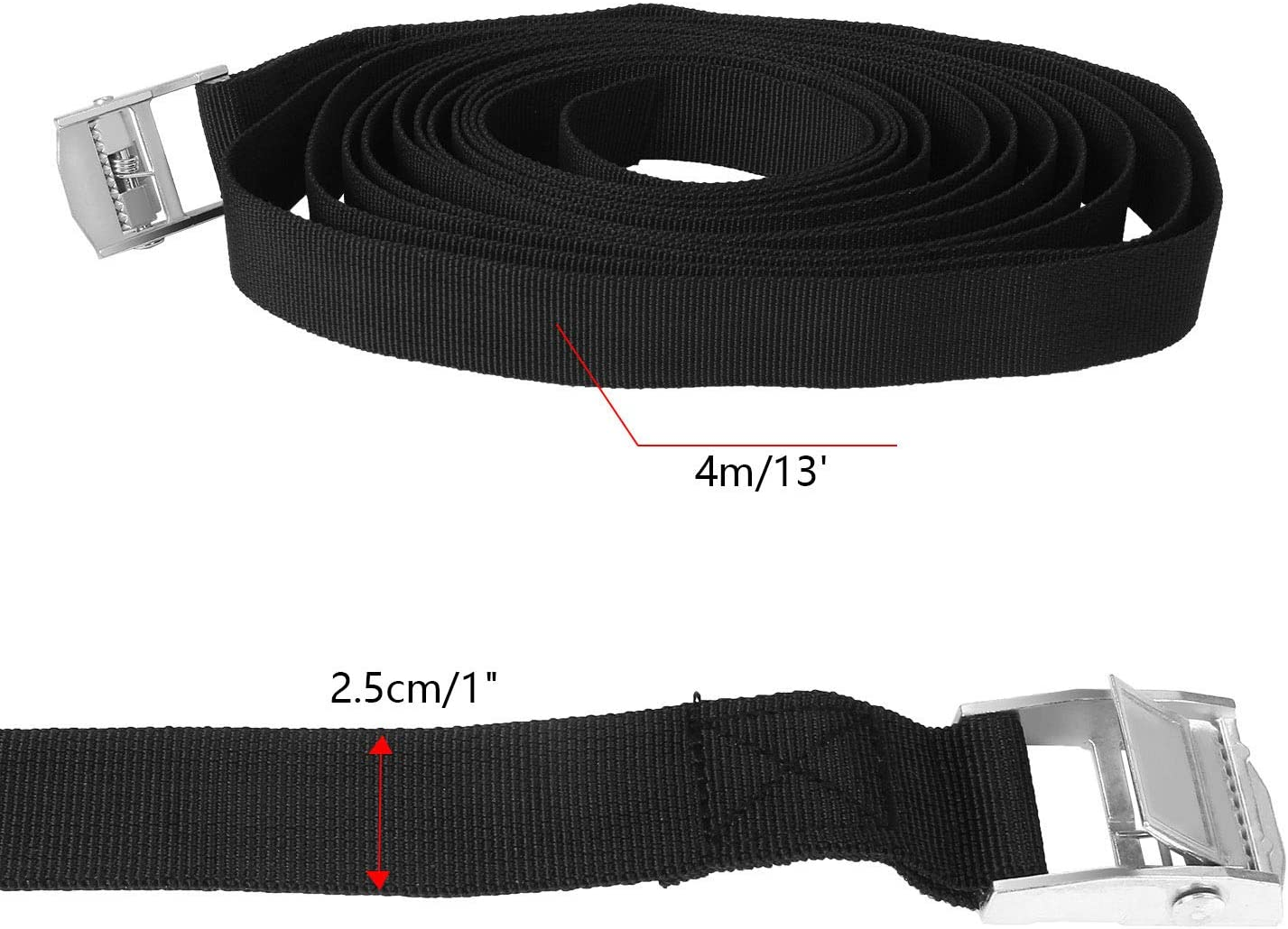 Black 4 Pack 1 x13 Lashing Straps Tie Down Straps for roof Racks Tie Down Mounted Cargo with Cam Lock Buckle