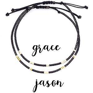Morse Code Couples Bracelet, Couples Name Anniversary Gift