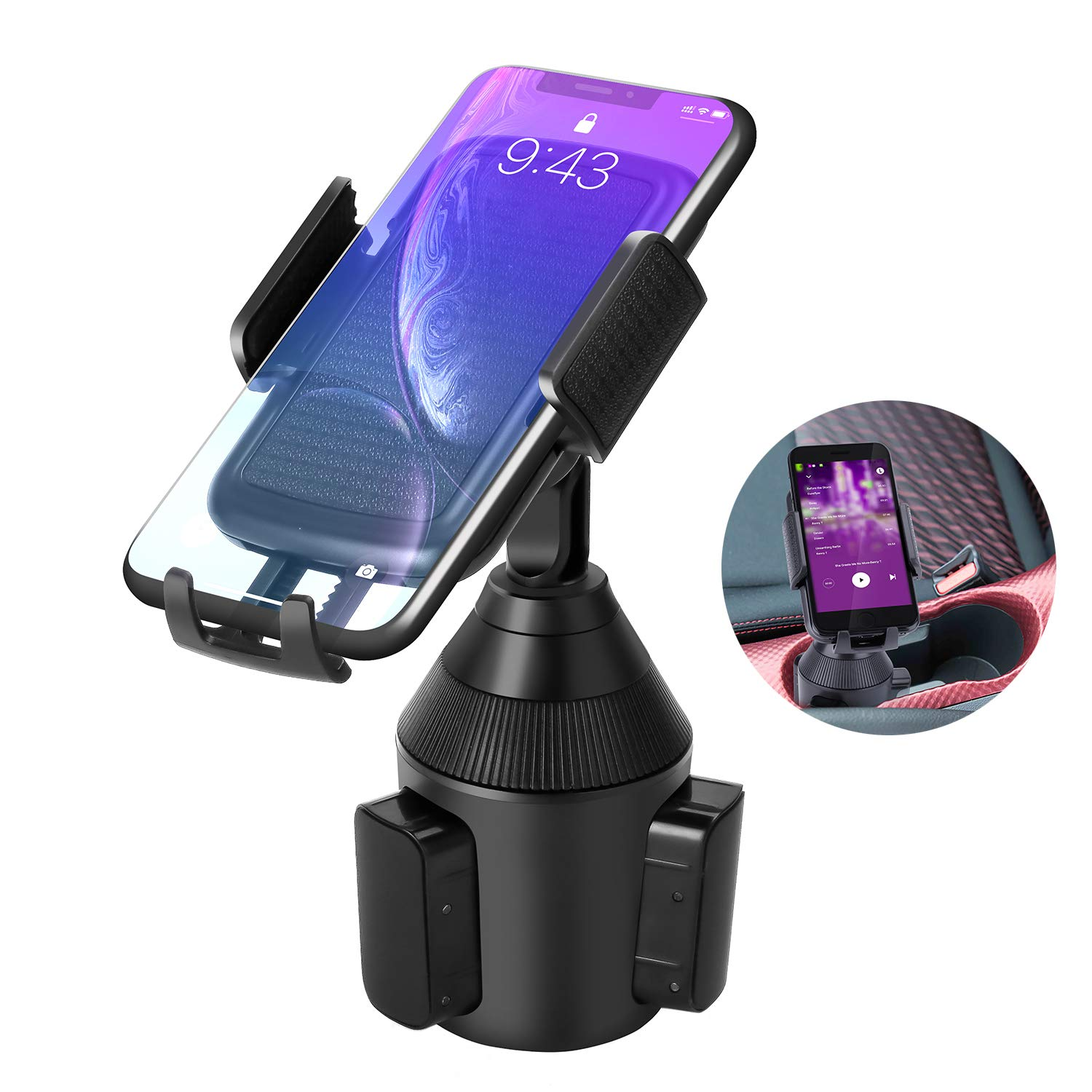 Car Cup Holder Phone Mount,Universal Smart Adjustable Automobile Cell Phone Mount for iPhone Xs/Max/X/XR/8/7/6 Plus Samsung Galaxy S10/S9/ S8 Note 9 Nexus Sony、HTC、Huawei、LG and All Smartphones by LEXSO