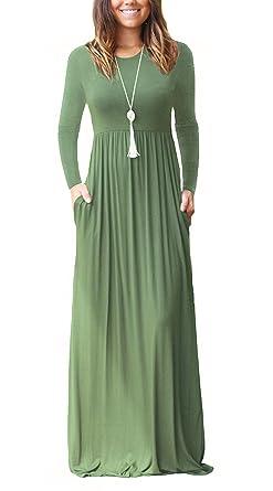 best service faad5 c5a35 Dasbayla Damen Casual Lange Langarm Kleider mit Taschen