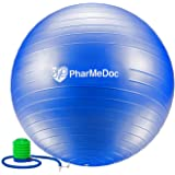 PharMeDoc Exercise Ball with Hand Pump - Gym Quality Anti-Burst Non-Slip - Tone Abs - Perfect for Physical Therapy Pilates Home Fitness Yoga Balance & Personal Training – Swiss, Stability, Birth