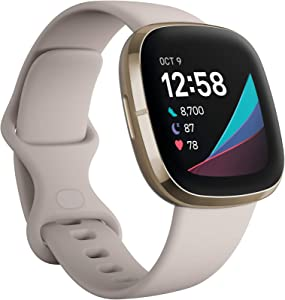 Fitbit Sense Advanced Smartwatch with Tools for Heart Health, Stress Management & Skin Temperature Trends, Alexa Built-in, White/Gold, One Size (S & L Bands Included)