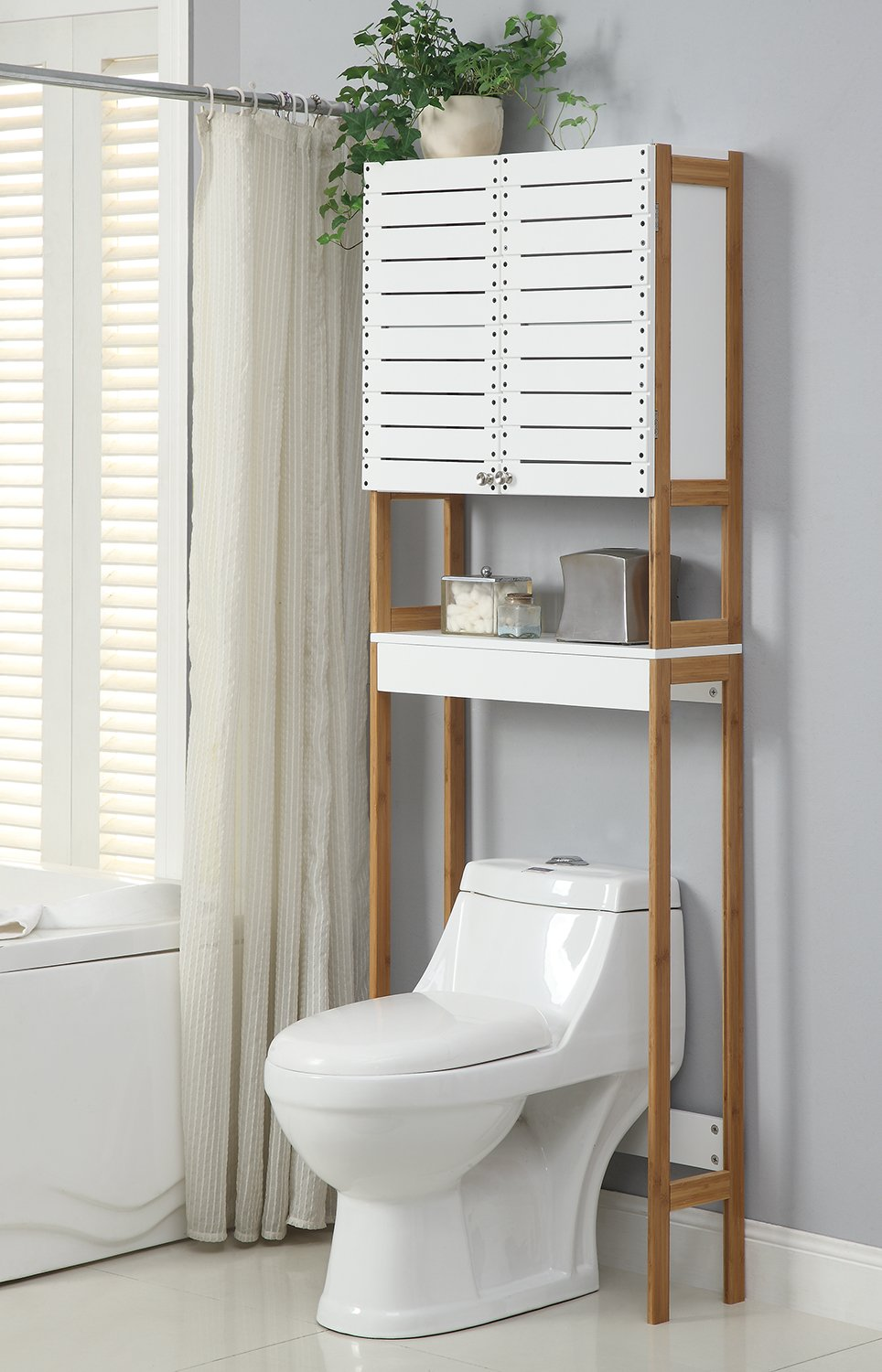 Amazon.com: Organize It All Natural Bamboo Over The Toilet Bathroom ...
