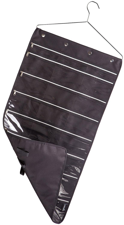 Misslo 44 Pockets Oxford Hanging Jewelry Organizer with Zipper Hanger, Black SYNCHKG055420