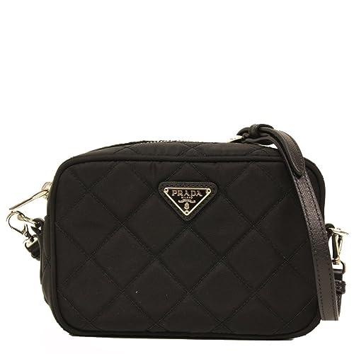 48d7d15fc716 Prada Tessuto Small Black Quilted Nylon Crossbody Shoulder Bag  Amazon.ca   Shoes   Handbags