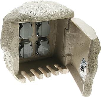 4fach Steinsteckdose Für Direktanschluss An Erdkabel Steckdose Stein