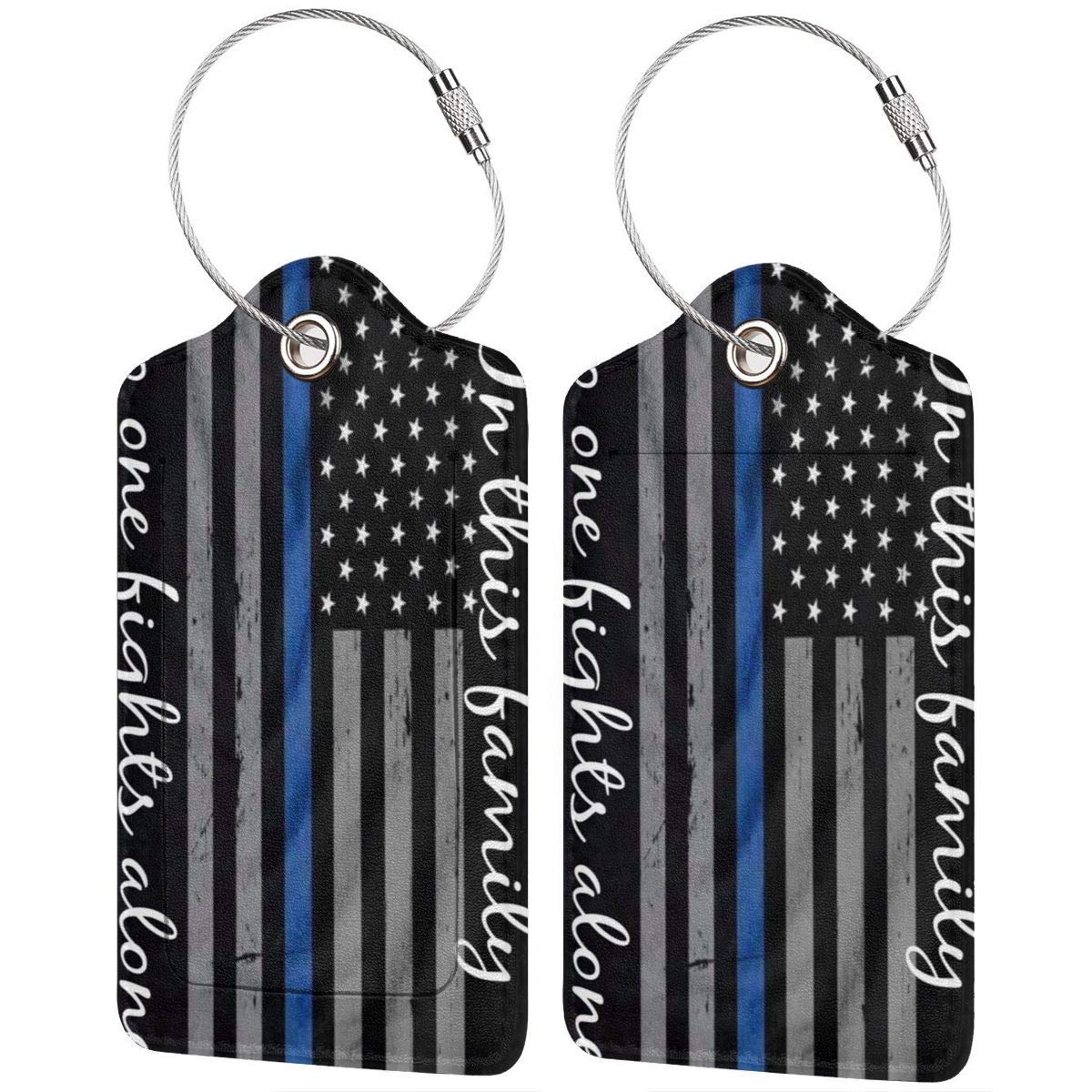 Police Blue Thin Line Leather Luggage Tags Baggage Bag Instrument Tag Travel Labels Accessories with Privacy Cover