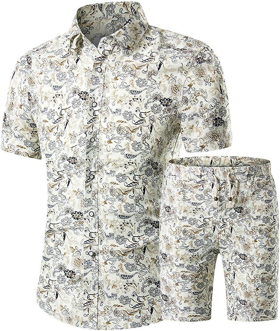 KLJR Men Print Short Sleeve Shirt and Shorts 2 Piece Suits Summer Set