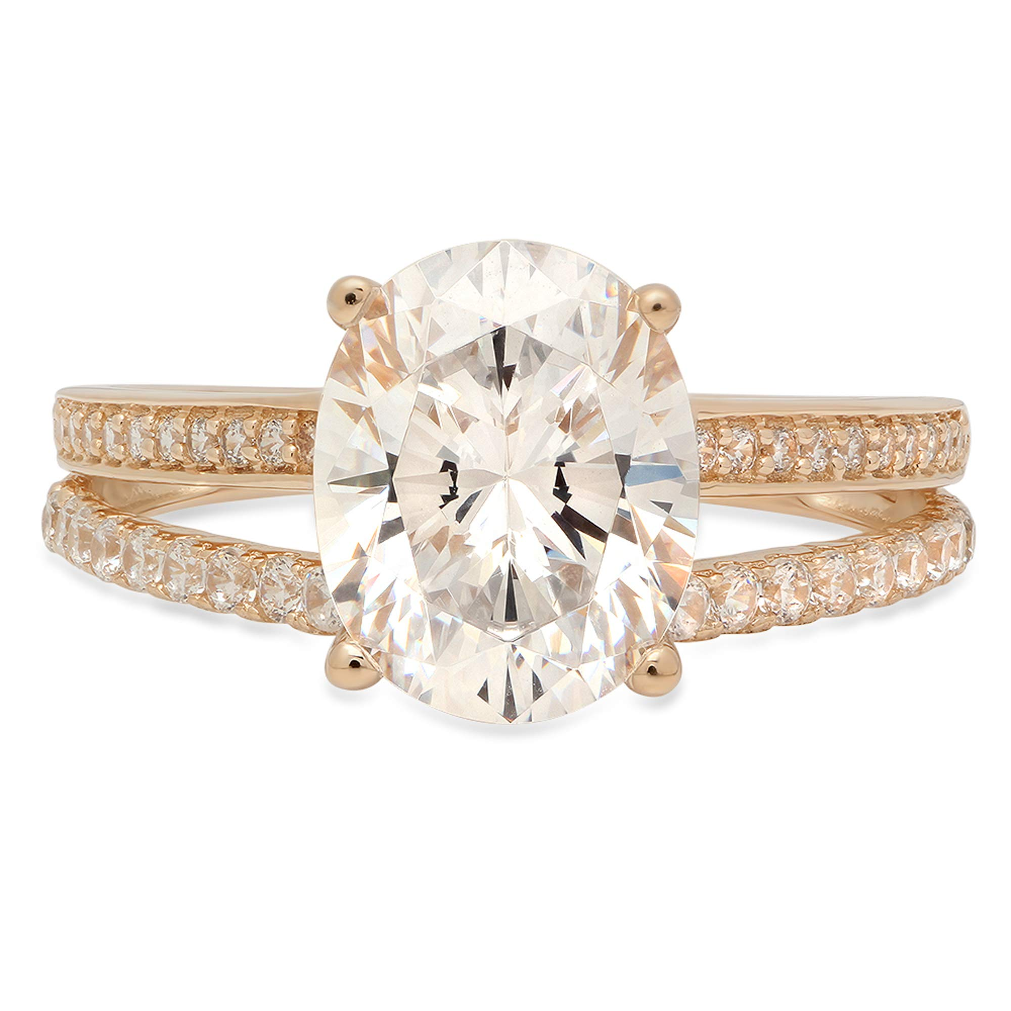 2.10 ct Oval Cut Solitaire Accent split shank Best Quality Moissanite Ideal VVS1 D & Simulated Diamond Engagement Promise Statement Anniversary Bridal Wedding Ring Solid 14k Yellow Gold, Size 7.5