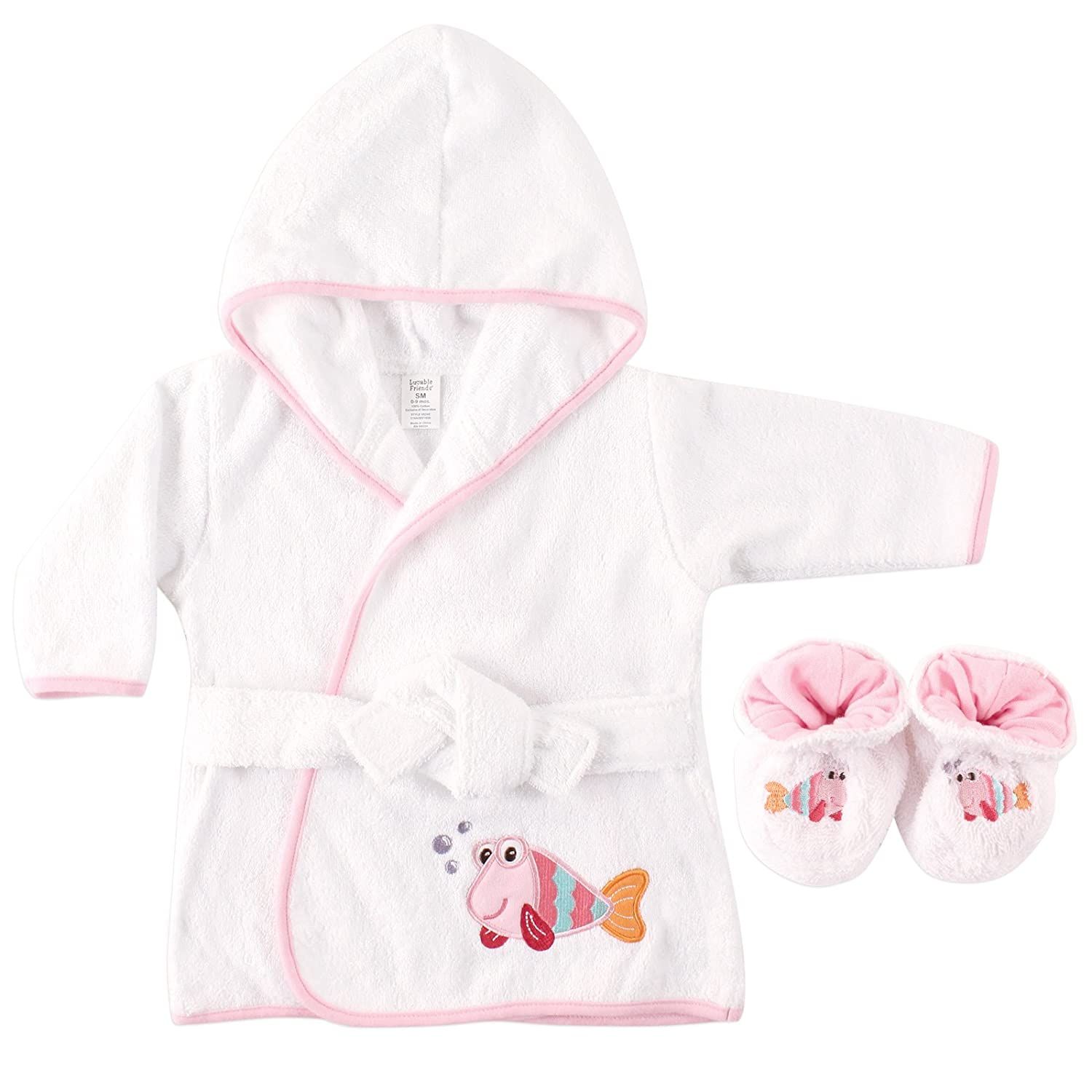 Amazon.com: Luvable Friends Woven Terry Baby Bath Robe with Slippers, Blue: Baby