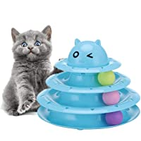 Cat Toy 3 Layers Turntable Ball Anti Skid Pet Kitten Toys with 3 Color Balls Cat Tracks Ball