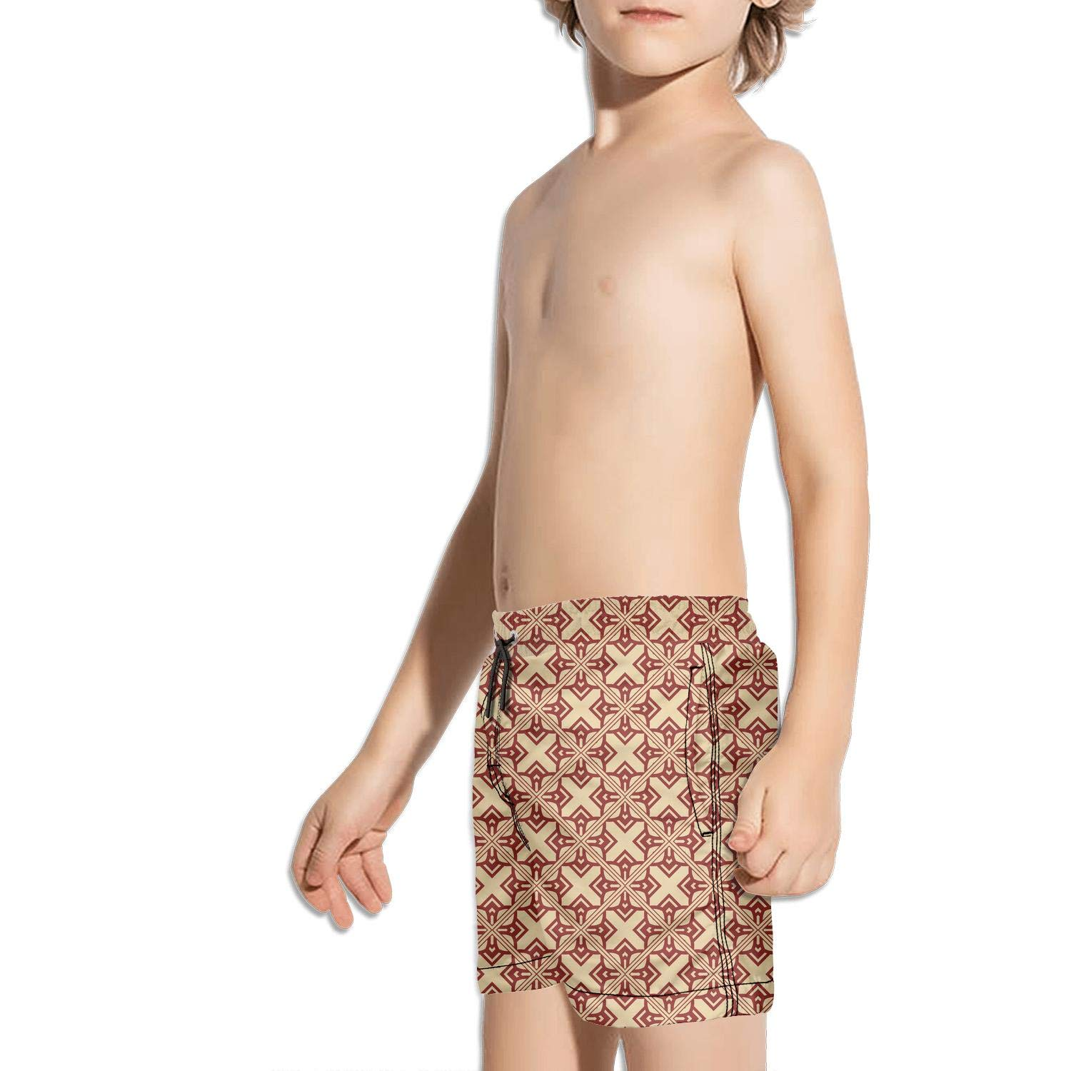 BingGuiC Boys Quick Dry Shorts Abstract Geometric Art Deco Red and Yellow Fashion Swim Trunks