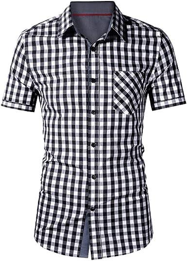 Camisas de Hombre T Shirt tee Moda Camiseta de Manga Corta con Bolsillo la Solapa Tela Escocesa impresión Blusa Tops a Cuadros: Amazon.es: Ropa y accesorios