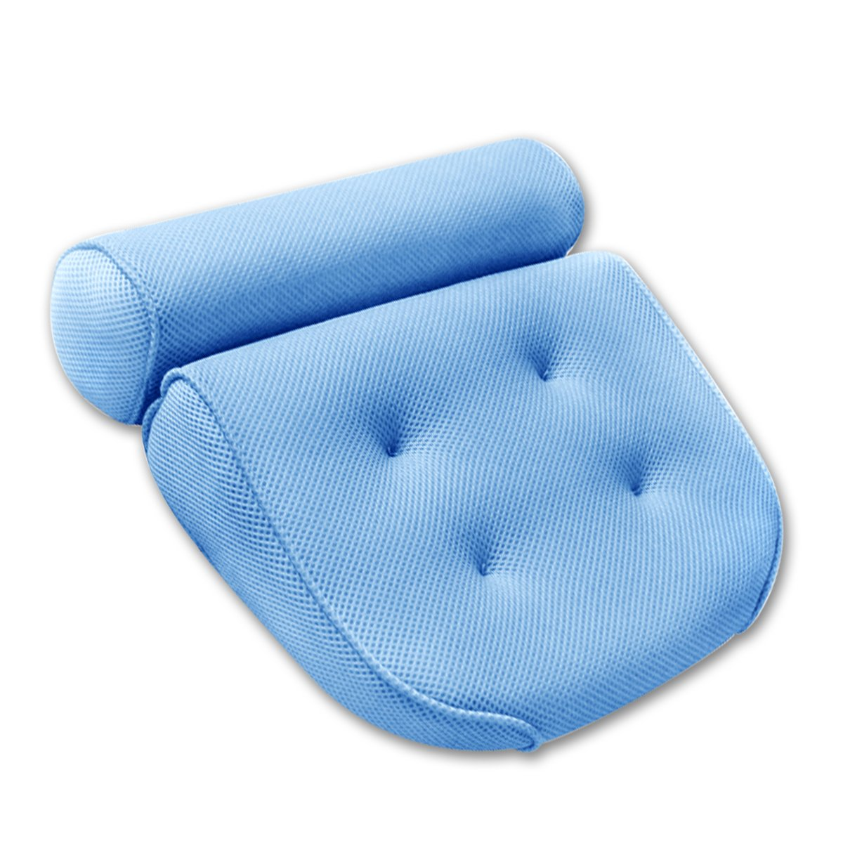 AntArt Bath-tub Pillow for Home Spa and Rest, Relaxation Bath tub Cushion with Strong Suction Cups, Mold & Mildew Resistant, 2-Panel Odor Free Bath Pillows - Blue