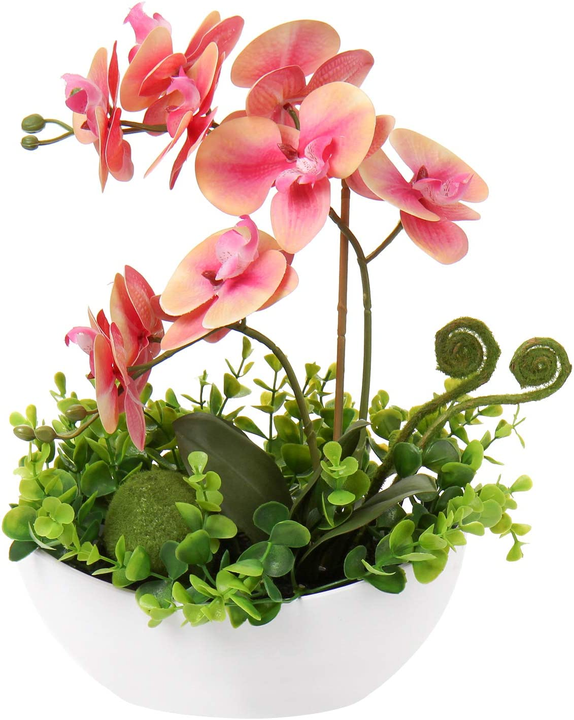 Artificial Orchid Flowers Fake Orchids Flowers with Vase Silk Orchids Faux Flowers Decor Indoor Phalaenopsis Flower in Pot Arrangements for Home Wedding Party Table Bathroom Decoration - Pink