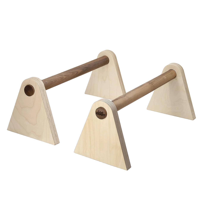 EDELKRAFT® Minibarren to go Studio - Handstand, Push-ups, L-Sitz - Parallettes aus FSC-Holz und Spezialkautschuk