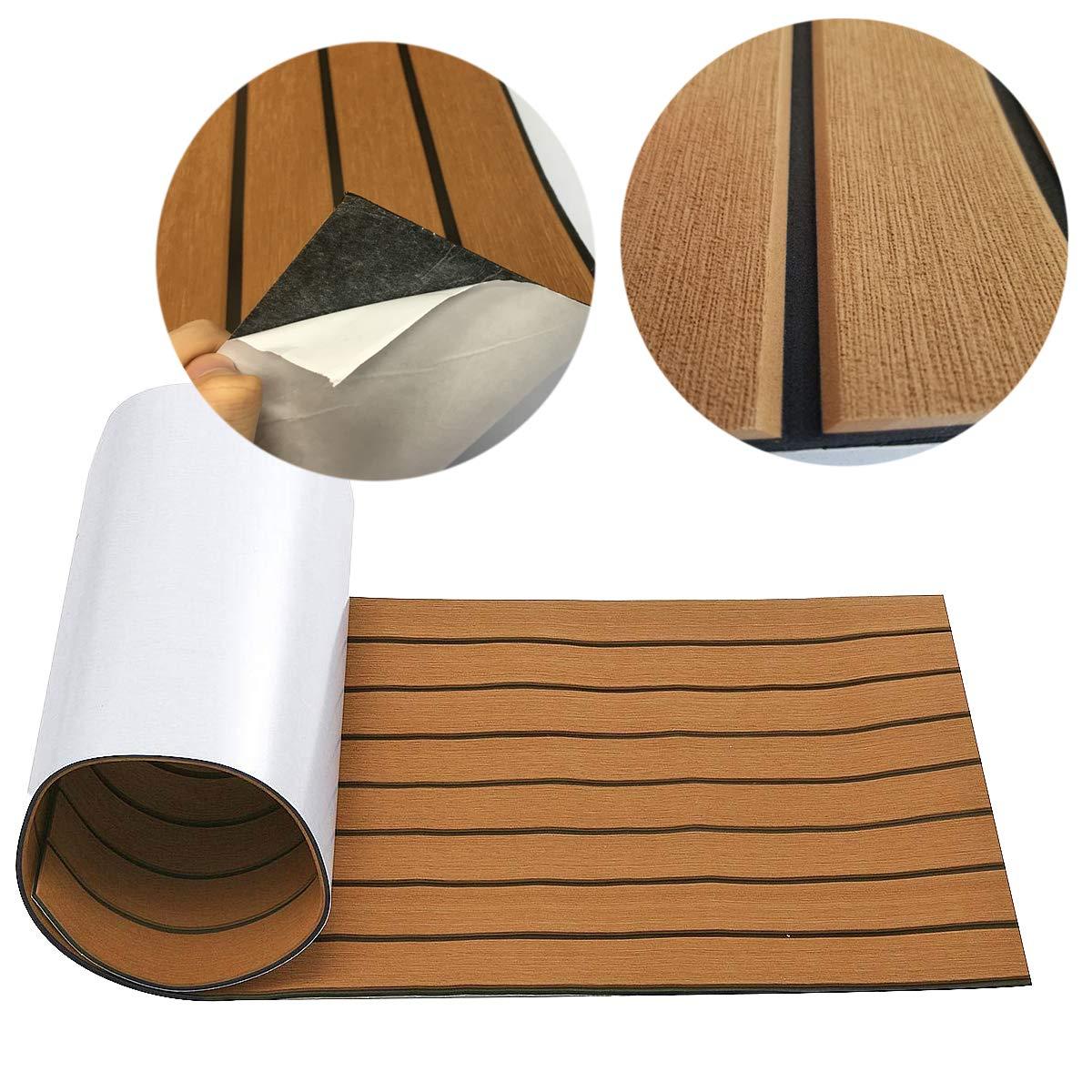 "CHURERSHINING EVA Foam Faux Teak Decking Sheet for Boat Yacht Marine Flooring Mat Non-Slip Mat Self-Adhesive Carpet 17.7 x94.5/"" Bevel Edge Boat Accessories"