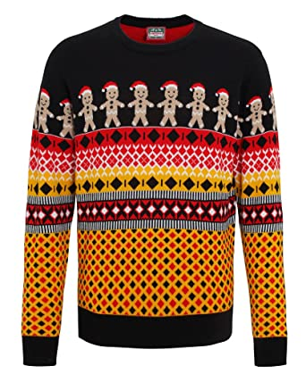 Mens Christmas Funny Jumper Gingerbread Man Knitted Jumper Gents