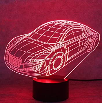 Oberora 3D Car Cool Night Light Colored Change USB Touch Button LED Desk  Lamp, Creative