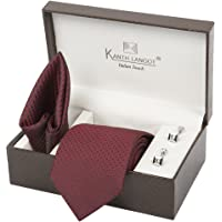 Kanthlangot Men's Jacquard Tie, Pocket Square and Cufflinks Set (Multicolour_Free Size)
