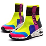 Cape Robbin Puzzle Womens High Top Sneakers Slip On Sneaker Sock Shoes for Women with Wedge Chunky Heels