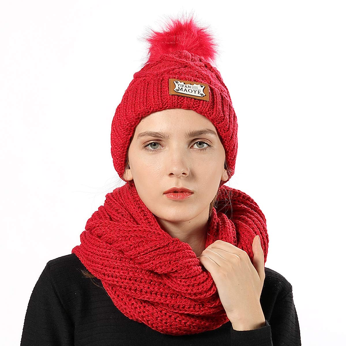 FLY HAWK Women Girl Knit Hat Scarf Set Beanie Winter Outdoor Ski Sports Cap Red