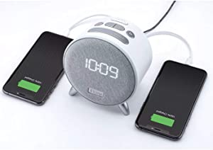 iHome iBT235W Bluetooth Digital Alarm Clock with Dual USB Charging and Ambient Nightlight for Kids Adults Bedrooms and Dorm Essentials